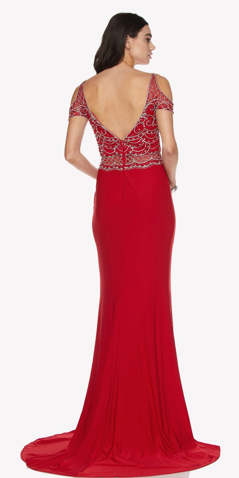 Red Cold Shoulder Evening Gown With V Shape Open Back And Train