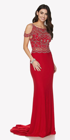 Red Cold Shoulder Evening Gown with V-Shape Open Back and Train