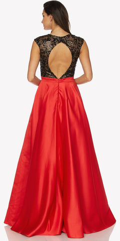 Red Sleeveless Floor Length Quinceanera Dress with Keyhole Back