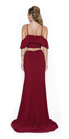 Cold-Shoulder Two-Piece Prom Gown with Slit Burgundy