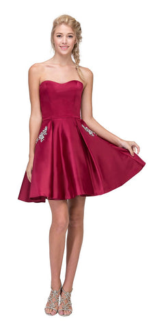Burgundy Lace Beaded Short Homecoming Dress Sleeveless