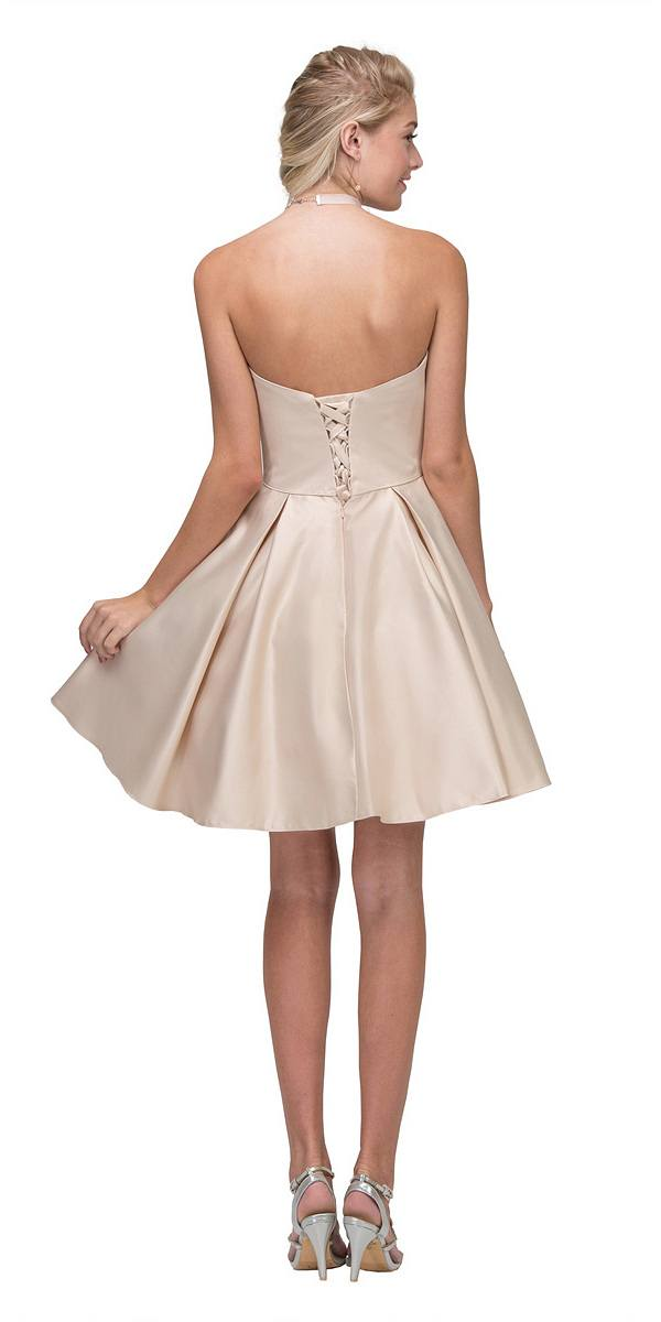 Off White Strapless Homecoming Short Dress with Pockets Champagne Strapless  Homecoming Short Dress with Pockets ... 5c7933cb5