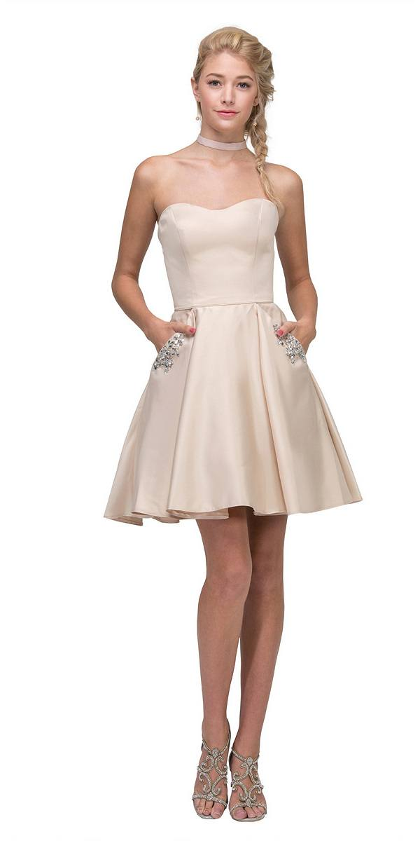 ... Champagne Strapless Homecoming Short Dress with Pockets Off White ... 48ea612a4