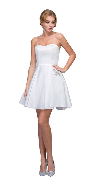 Off White Strapless Homecoming Short Dress with Pockets