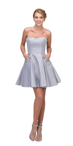 Silver Strapless Homecoming Short Dress with Pockets