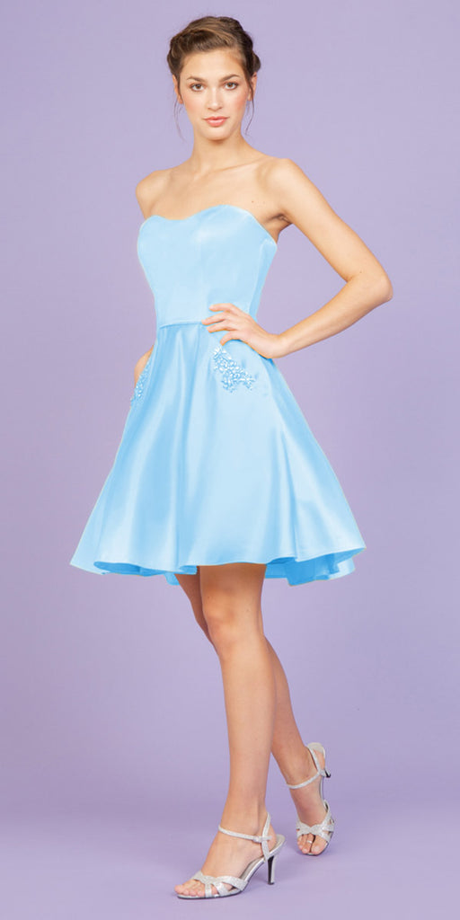 Eureka Fashion 6622 Bahama Blue Strapless Homecoming Short Dress with Pockets