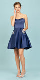 Eureka Fashion 6622 Navy Blue Strapless Homecoming Short Dress with Pockets