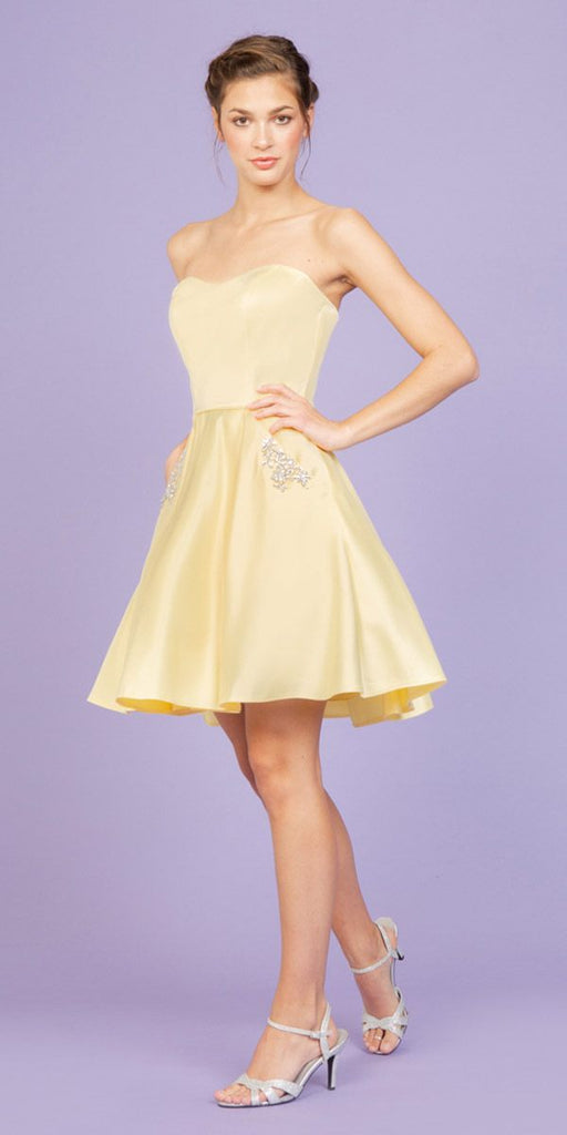 Eureka Fashion 6622 Yellow Strapless Homecoming Short Dress with Pockets
