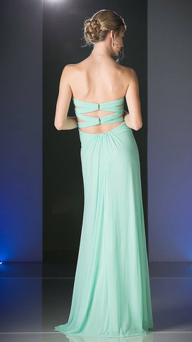 Cinderella Divine 663 Strapless Pleated Rhinestones Bodice Empire Waist Mint Full Length Gown