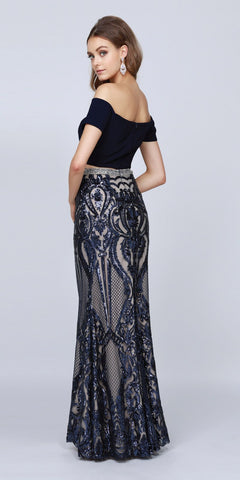 Off-Shoulder Crop Top Two-Piece Long Prom Dress Navy Blue