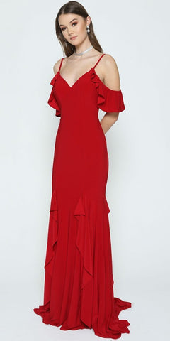 Red Mermaid Long Prom Dress Ruffled Cold-Shoulder