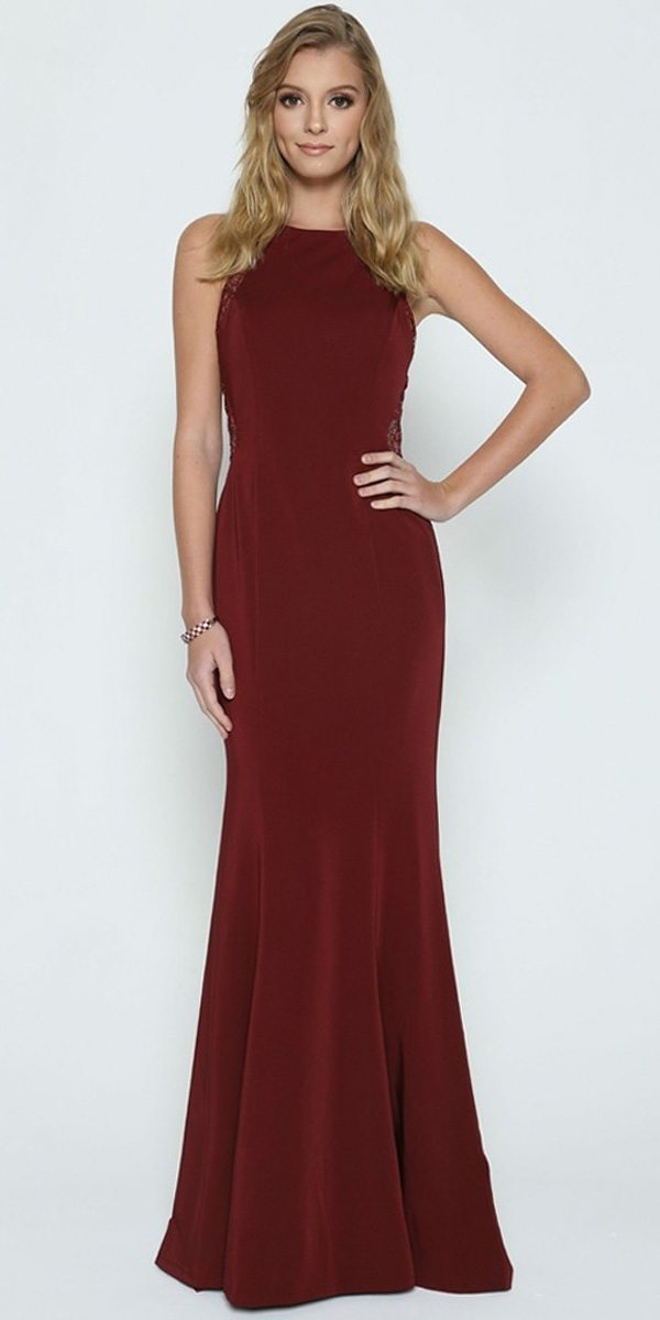 f07b84e708b9 Burgundy Evening Gown Beaded Lace Back Sleeveless. Tap to expand