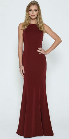 Burgundy Evening Gown Beaded Lace Back Sleeveless