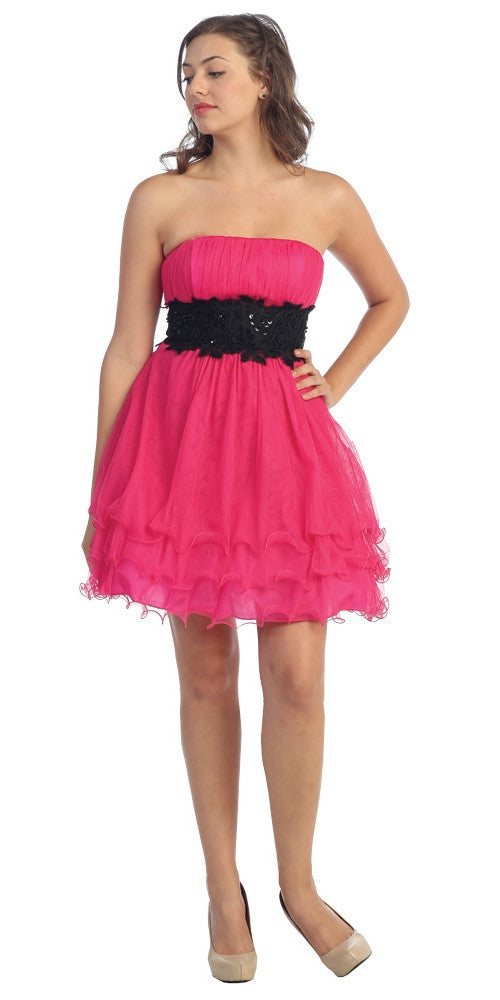Fuchsia/Black Poofy A Line Short Dress Strapless Ruffled Hem