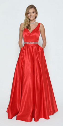 Beaded Waist V-Neck Satin Prom Gown Red