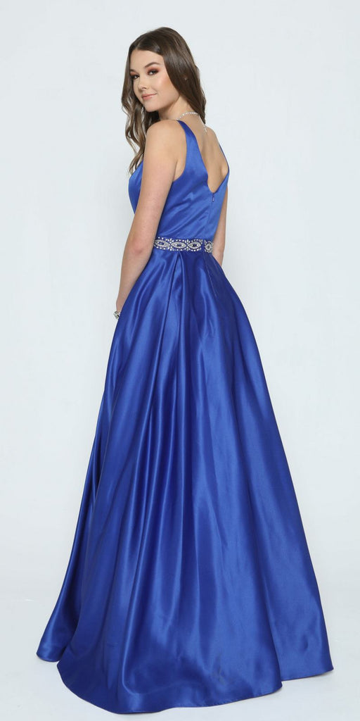Beaded Waist V-Neck Satin Prom Gown Royal Blue