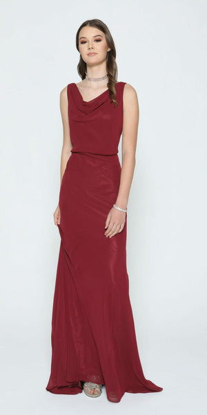 Burgundy Floor Length Formal Dress with Cowl Neckline