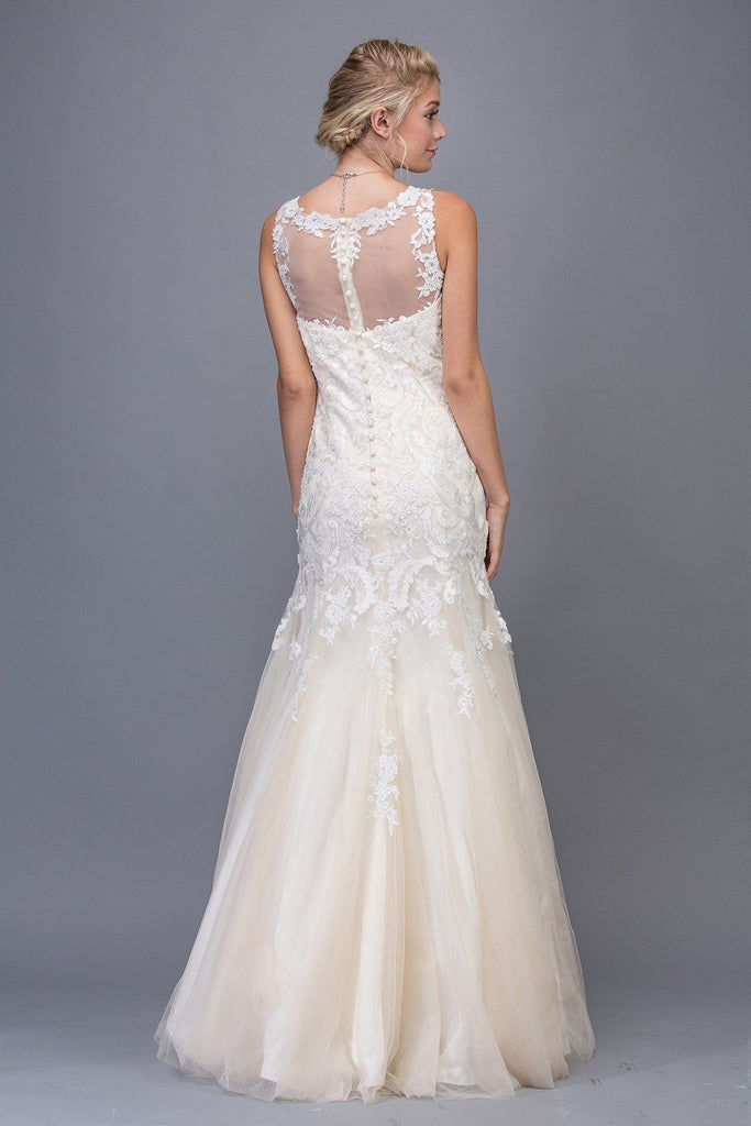 Illusion Mermaid Lace Wedding Gown Ivory/Champagne