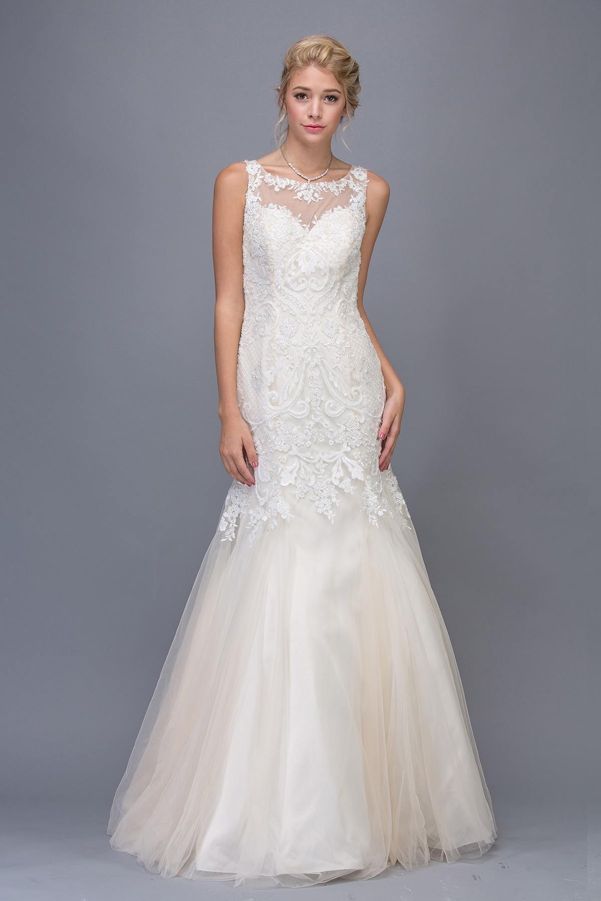 Eureka Fashion 6701 Illusion Mermaid Lace Wedding Gown Ivory ...