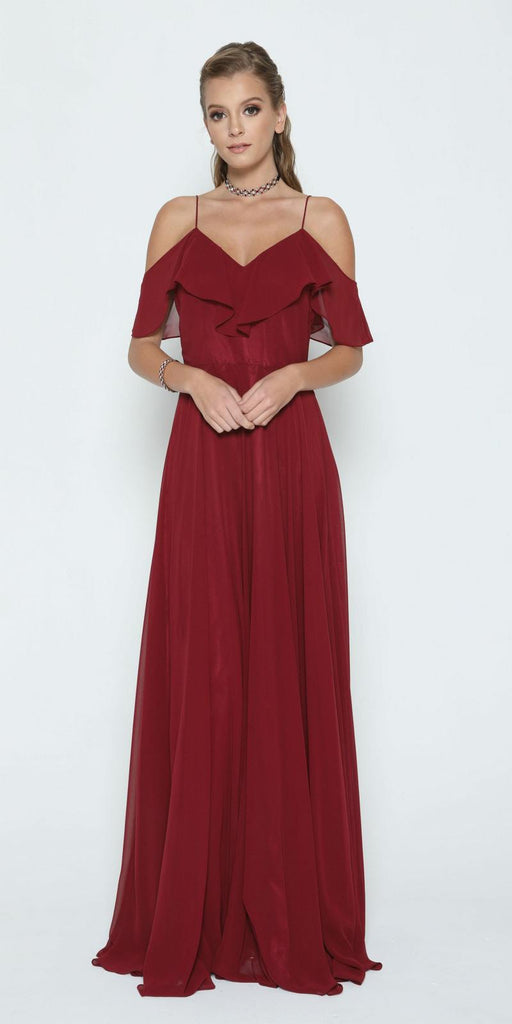 Burgundy A-line Long Formal Dress Ruffled Cold-Shoulder