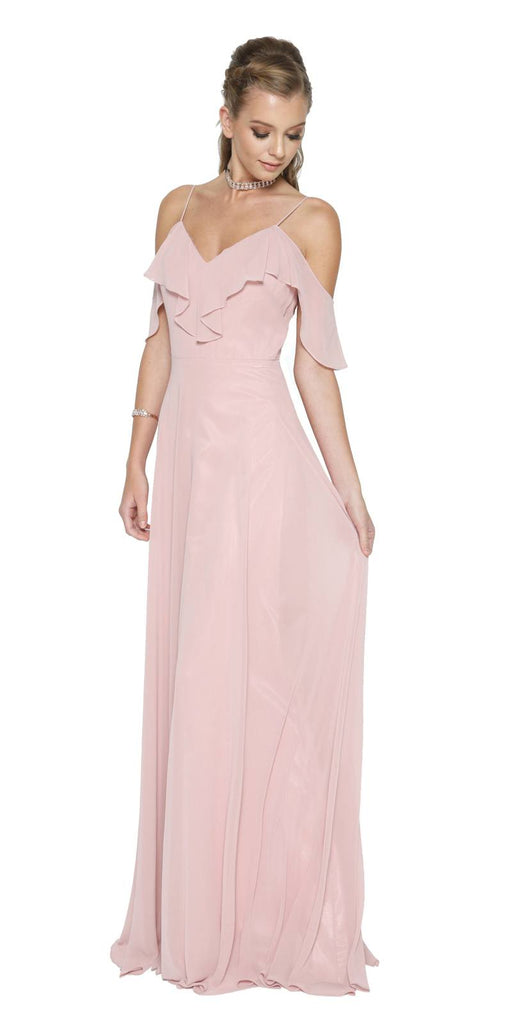 Dusty Rose A-line Long Formal Dress Ruffled Cold-Shoulder