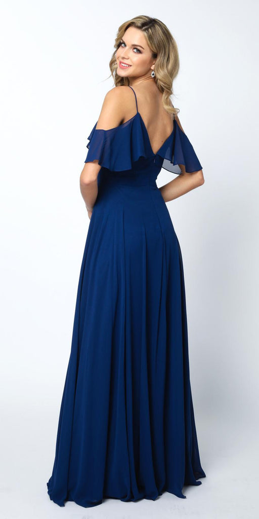 Navy Blue A-line Long Formal Dress Ruffled Cold-Shoulder