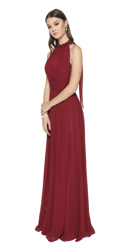 Burgundy Sleeveless Long Formal Dress with Halter High Neckline