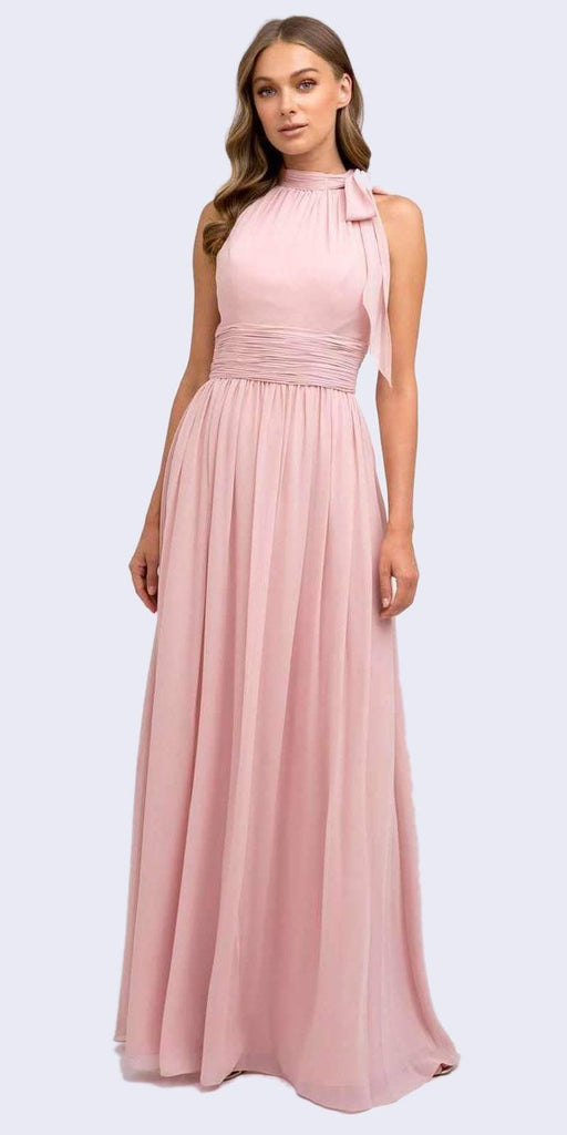 Juliet 672 Floor Length Dusty Rose Sleeveless Formal Dress Halter High Neckline