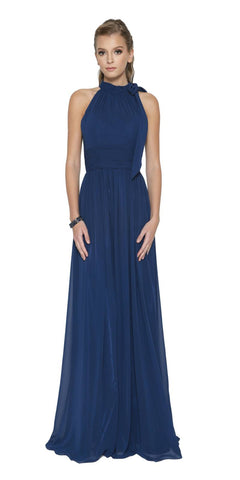 Navy Blue Sleeveless Long Formal Dress with Halter High Neckline