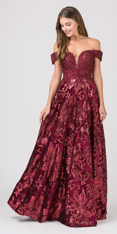 Off-Shoulder Burgundy Long Prom Dress with Pockets