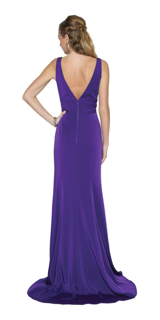 Purple Long Prom Dress Deep V-Neck with Sheer Inset