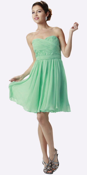 Strapless Chiffon Short Mint Bridesmaid Dress Knee Length