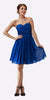 Strapless Chiffon Short Royal Blue Bridesmaid Dress Knee Length