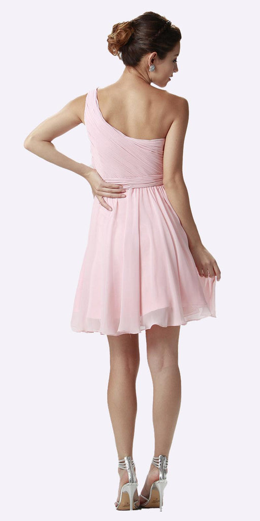 One Shoulder Chiffon Short Blush Bridesmaid Dress Ruched Bodice