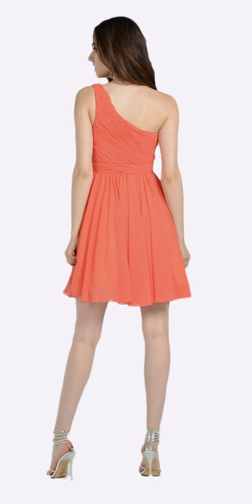 One Shoulder Chiffon Short Orange/Coral Bridesmaid Dress Ruched Bodice Back View