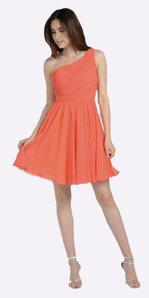 One Shoulder Chiffon Short Orange/Coral Bridesmaid Dress Ruched Bodice