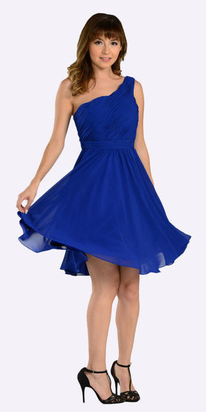 One Shoulder Chiffon Short Royal Blue Bridesmaid Dress Ruched Bodice