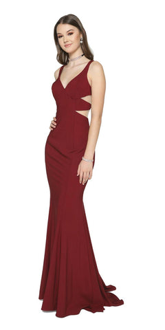 Floor Length Evening Gown Burgundy Span Satin Fit and Flare