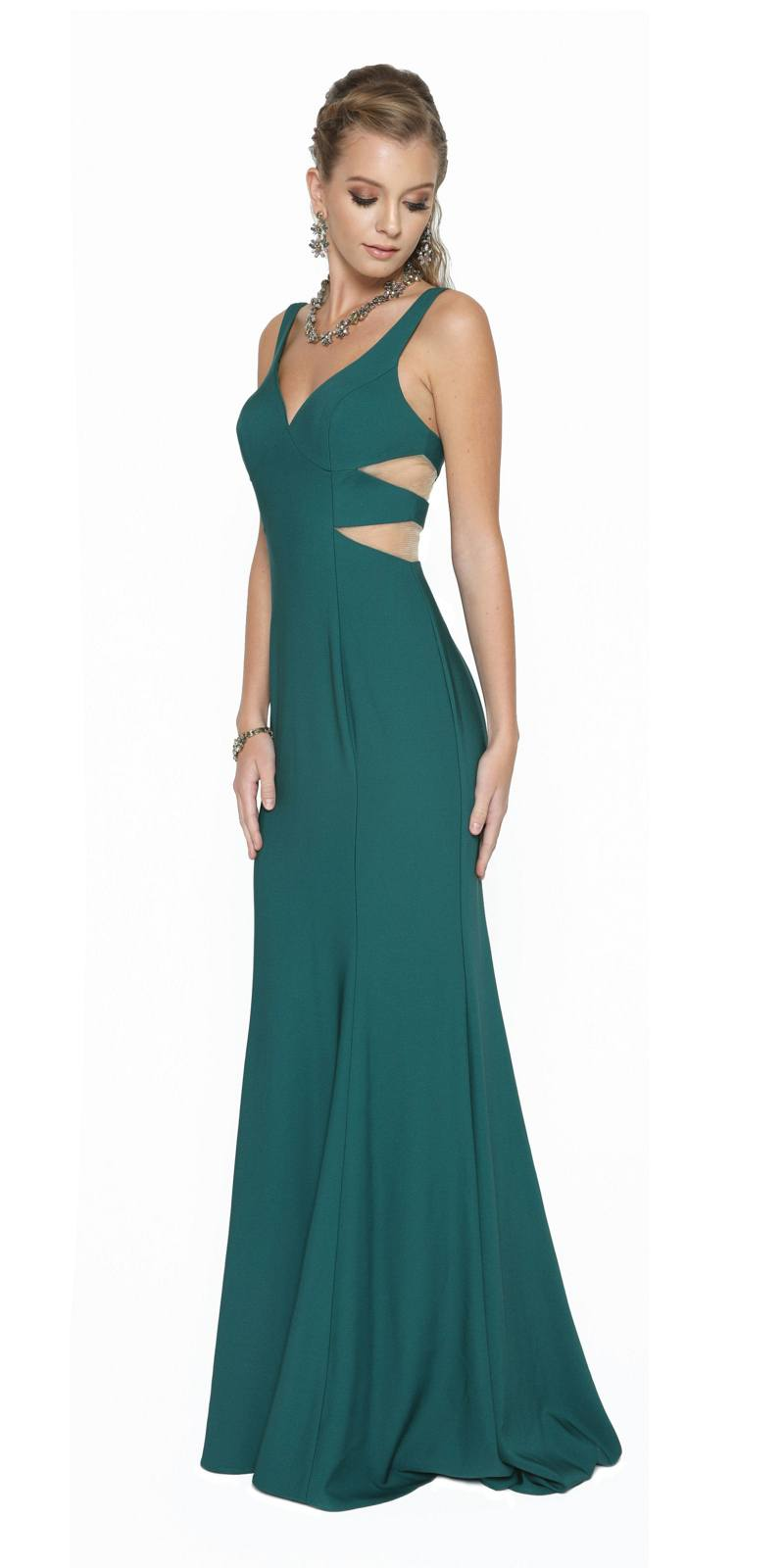 Juliet 675 V-Neck Long Prom Dress with Sheer Side Cut-Outs Burgundy ...