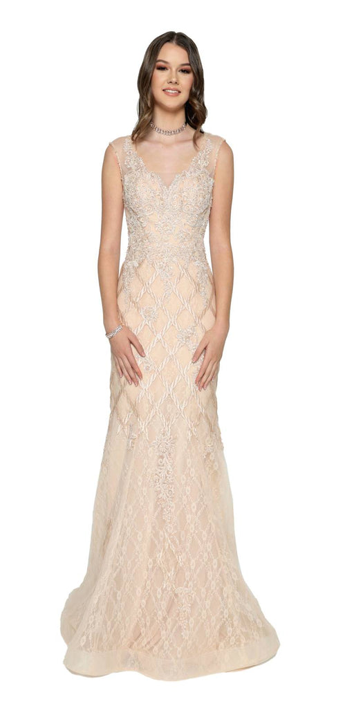 Appliqued Mermaid Long Formal Dress Champagne