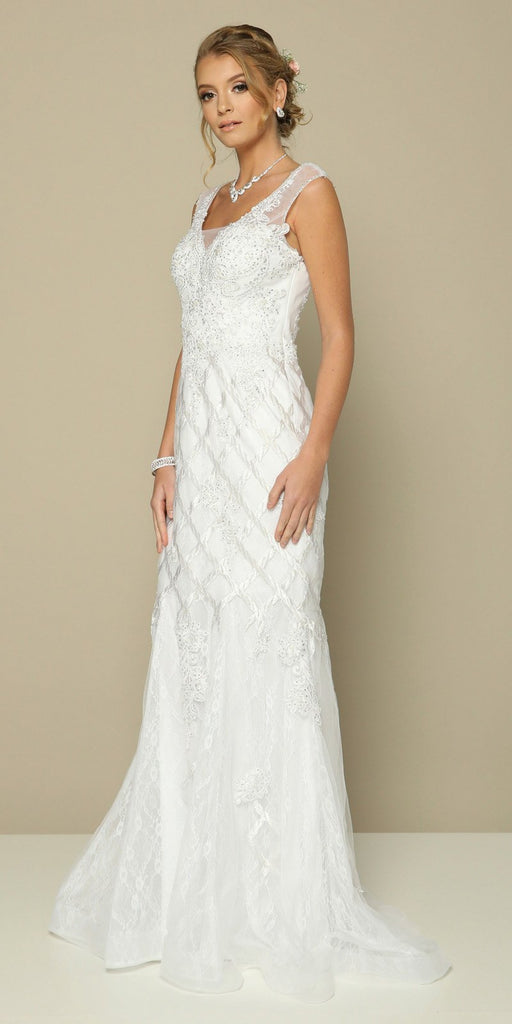 Appliqued Mermaid Long Formal Dress White