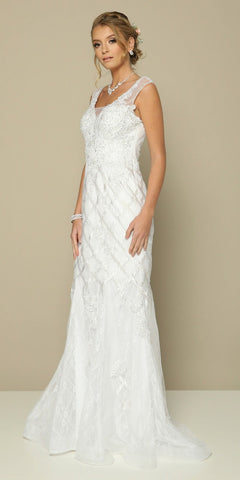 Appliqued Mermaid Long Formal Dress Off White