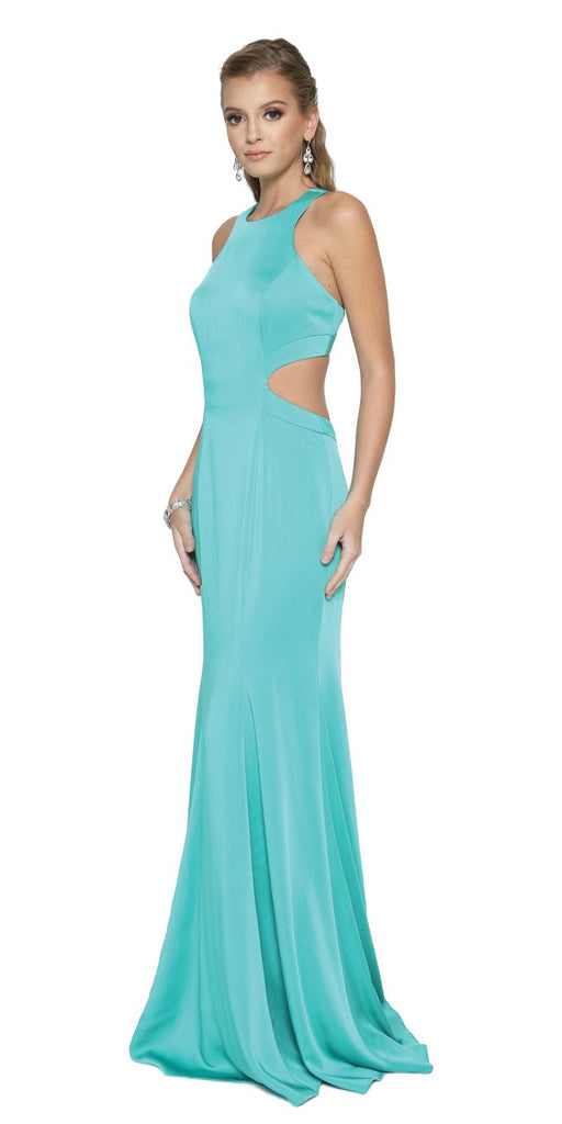 Jade Floor Length Prom Dress with Cut-Out