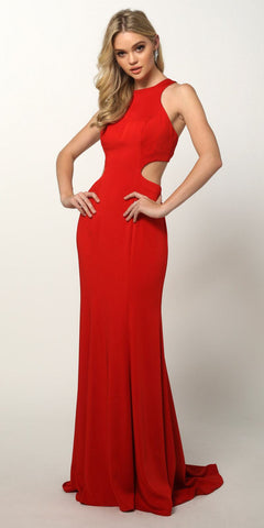 Red Floor Length Prom Dress with Cut-Out