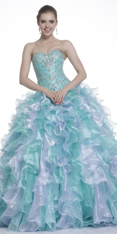 Short A Line Poofy Ball Gown Royal Blue Sweetheart Organza