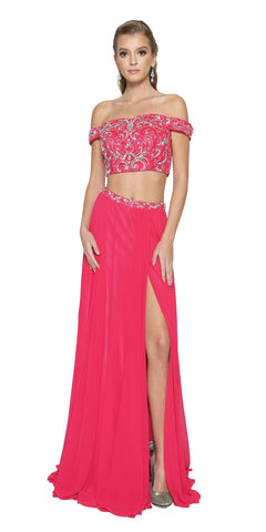 Fuchsia Two-Piece Prom Gown Off-Shoulder with Slit