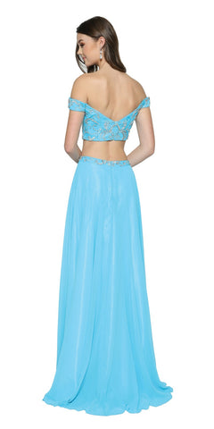 Turquoise Two-Piece Prom Gown Off-Shoulder with Slit