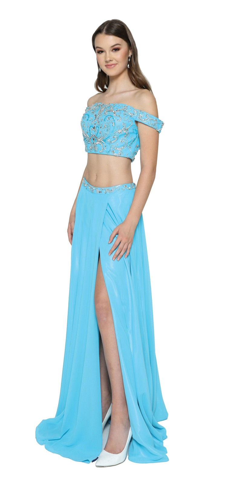 Juliet 680 Fuchsia Two-Piece Prom Gown Off-Shoulder with Slit ...