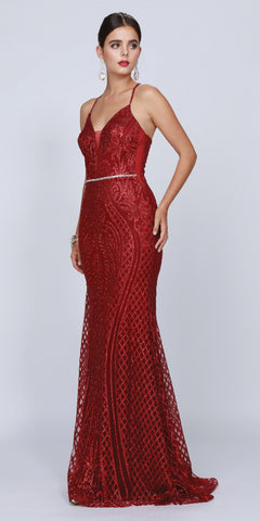 Burgundy Long Sequin Prom Dress with Strappy Back