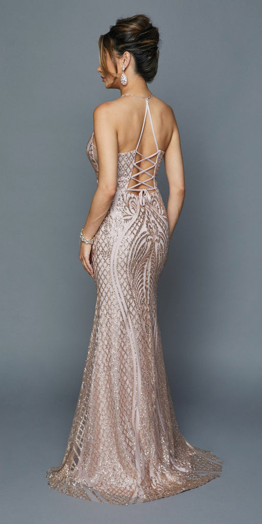Mauve Long Sequin Prom Dress with Strappy Back